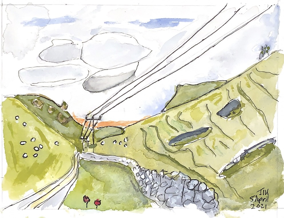 Watercolour showing telegraph wires and a pathway receding into hills