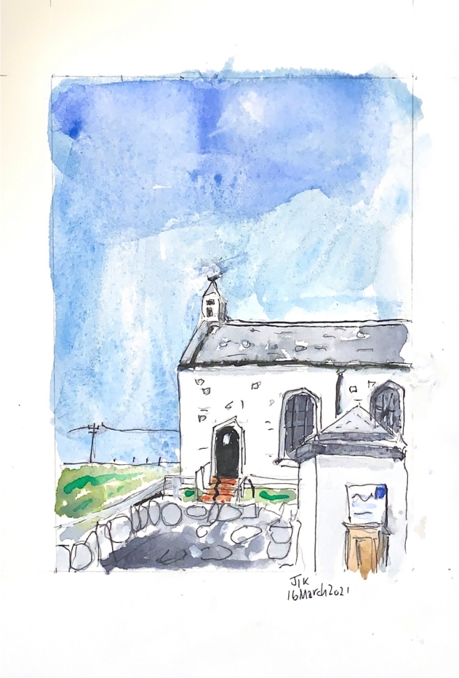 Watercolour showing a church against fields and a blue sky
