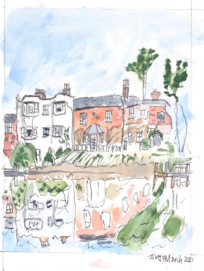 Watercolour showing houses on the opposite bank of the river and their reflections in the water