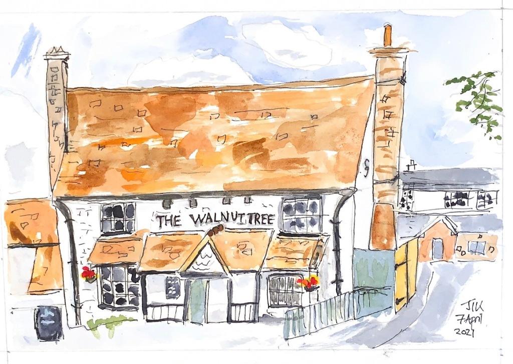 Watercolour showing a pub