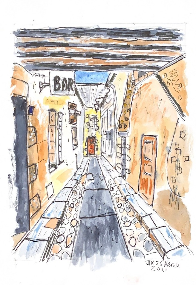 Watercolour showing an alleyway with a bar sign