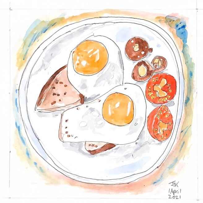 Watercolour showing a plate with fried eggs, bread, tomatoes and mushrooms
