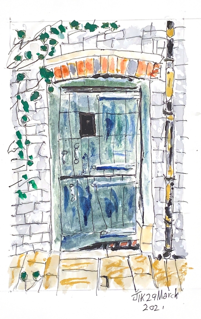 Watercolour showing barn style door in blue/green