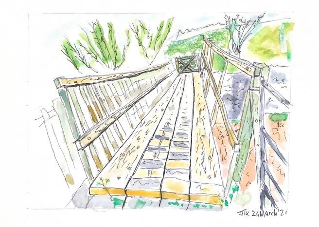 Watercolour showing footbridge